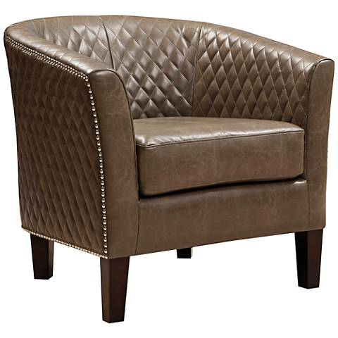 Stoddard Mink Diamond-Stitched Faux Leather Club Chair