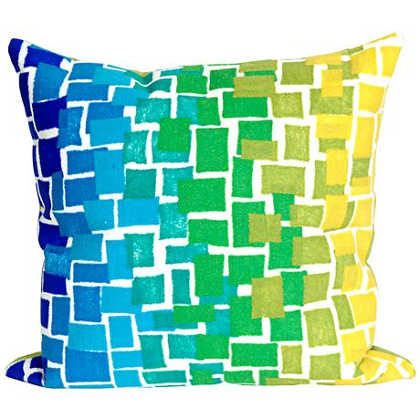 """Visions II Ombre Tile Cool 20"""" Square Outdoor Throw Pillow"""
