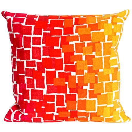 """Visions II Ombre Tile Warm 20"""" Square Outdoor Throw Pillow"""