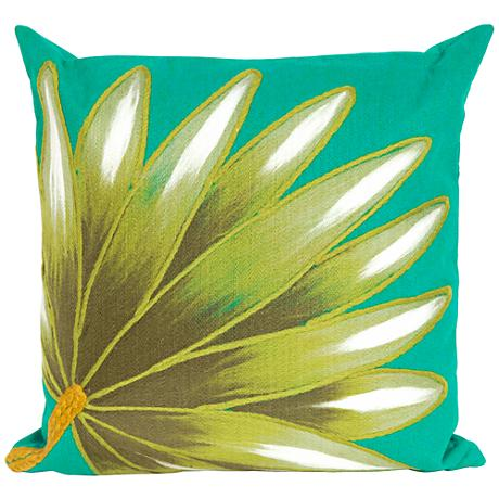 """Visions II Palm Fan Teal 20"""" Square Outdoor Throw Pillow"""