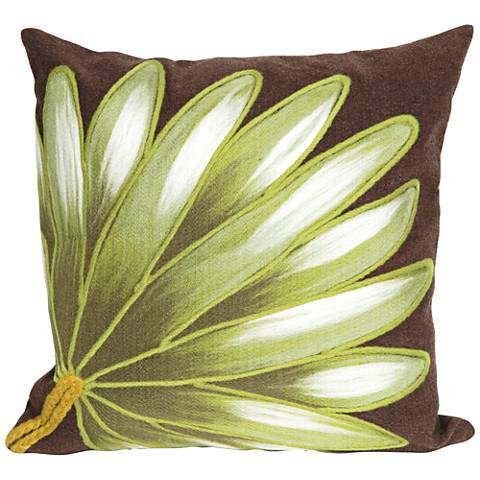 "Visions II Palm Fan Chocolate 20"" Square Outdoor Pillow"