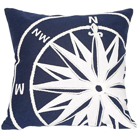 "Visions II Compass Marine 20"" Square Outdoor Throw Pillow"