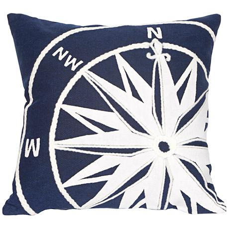 """Visions II Compass Marine 20"""" Square Outdoor Throw Pillow"""