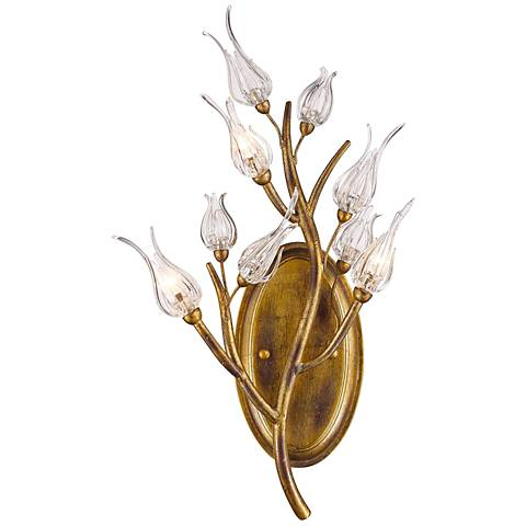 "Aiyana 21 1/4"" High Glass Blossom Gold Leaf Wall Sconce"