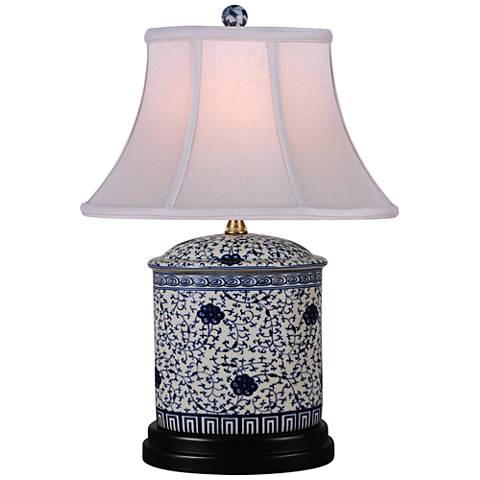 "Floral Blue and White 18 1/2"" High Jar Porcelain Table Lamp"