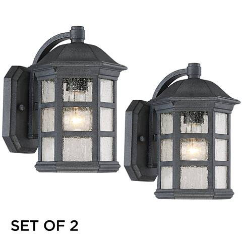 """Set of 2 Benedict 10 1/2""""H Charcoal Outdoor Wall Lights"""