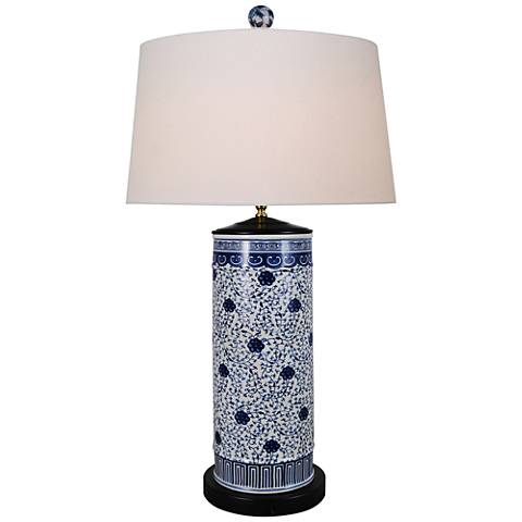 Floral Blue and White Cylinder Porcelain Table Lamp