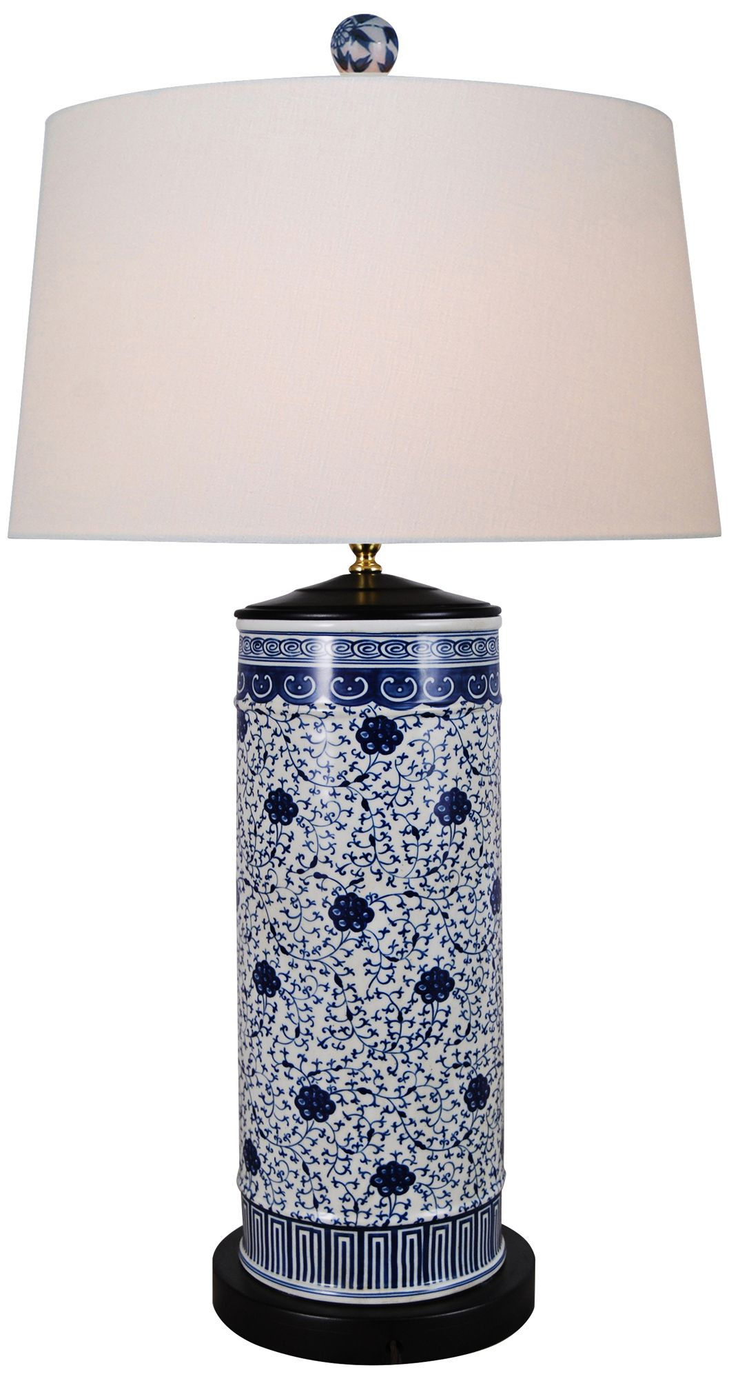 Amazing Floral Blue And White Cylinder Porcelain Table Lamp