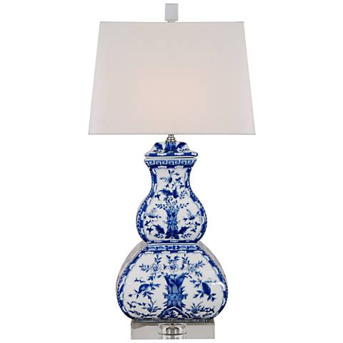 Blue Birds Square Gourd Porcelain Table Lamp