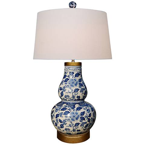 Blue Leaves Round Gourd Porcelain Table Lamp