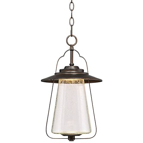 """Grandfield 17""""H Bronze Seedy Glass LED Outdoor Hanging Light"""