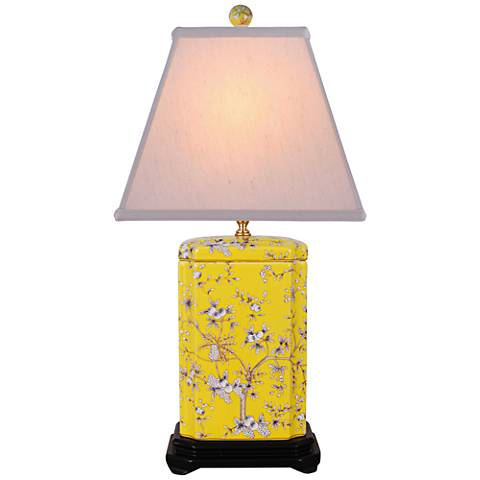Citrine Floral Yellow Rectangle Jar Porcelain Table Lamp