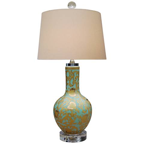 Tapestry Gold Porcelain Vase Table Lamp