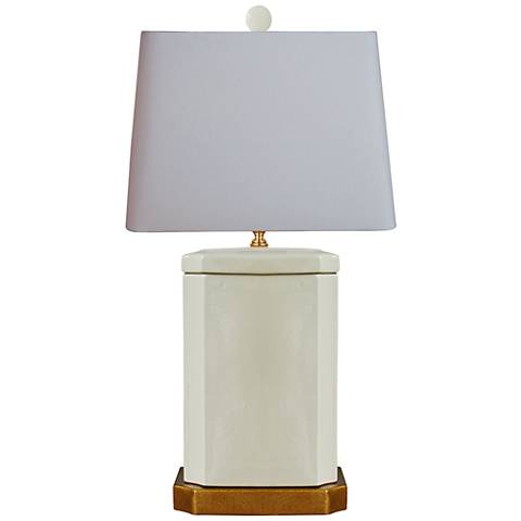Cleese Cream Porcelain Rectangle Jar Table Lamp