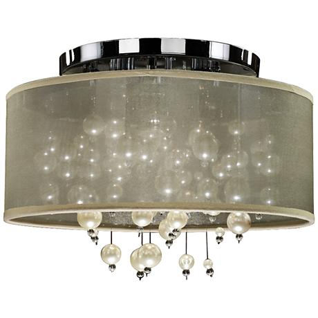 "Champagne 15""W Chrome 3-Light Faux Pearl Ceiling Light"