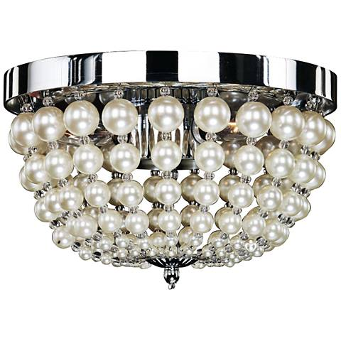 "Moscato 11"" Wide Chrome 3-Light Faux Pearl Ceiling Light"