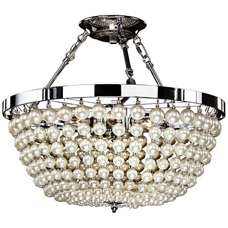 "Moscato Chrome 16 1/2"" Wide Faux Pearl 5-Light Ceiling Light"