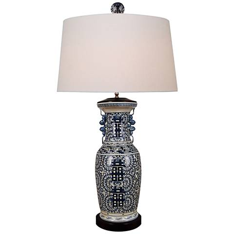 Onana Dark Blue and White Porcelain Vase Table Lamp