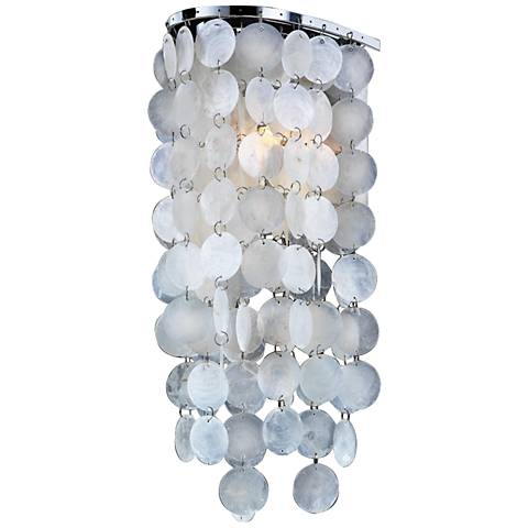 "Ensconced 15"" High Capiz Shell Halogen Wall Sconce"