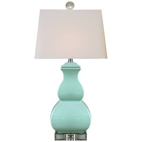 Neauville Spa Blue Square Gourd Porcelain Table Lamp