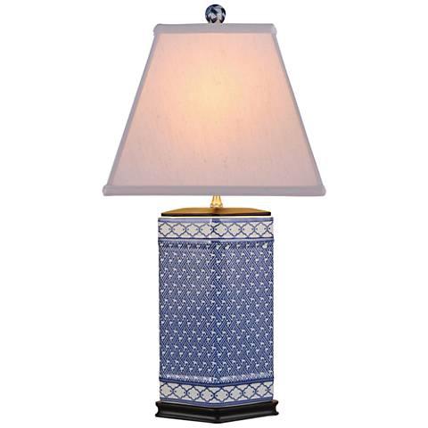 Mennon Blue and White Hexagonal Porcelain Table Lamp