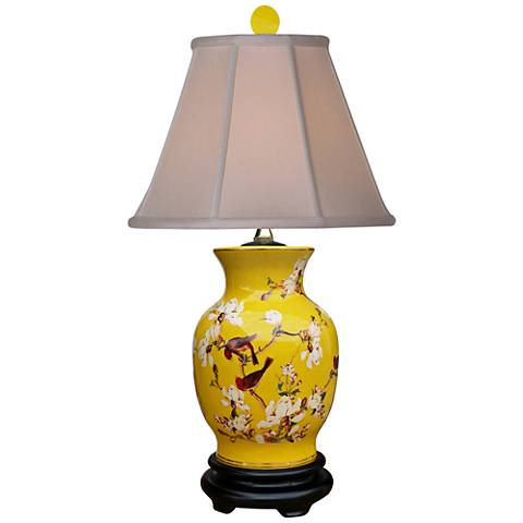 Yellowbird Hand-Painted Porcelain Vase Table Lamp