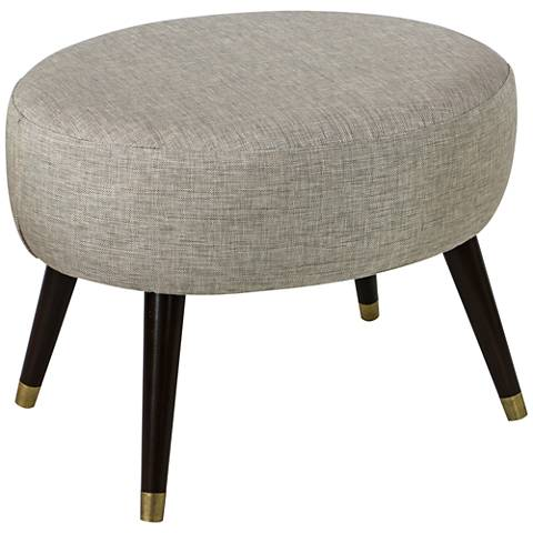 Stewart Groupie Pewter Gray Fabric Oval Ottoman