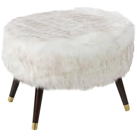 Greuvee White Faux Fox Fur Oval Ottoman