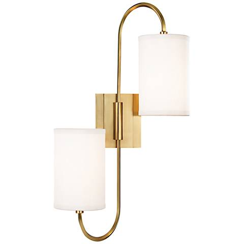 "Hudson Valley Junius 22""H 2-Light Aged Brass Sconce"
