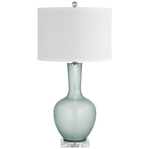 Makea Frosted Green Glass Vase Table Lamp