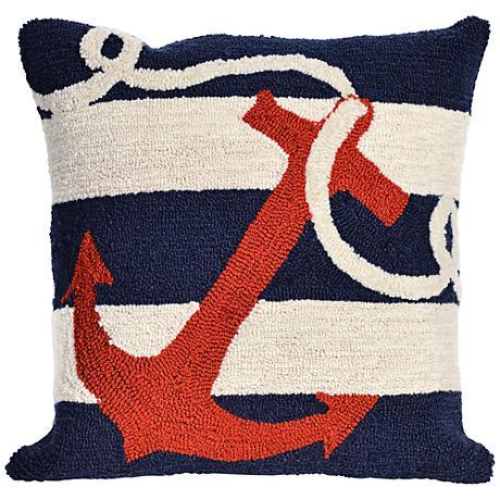 "Frontporch Anchor Navy 18"" Square Outdoor Throw Pillow"
