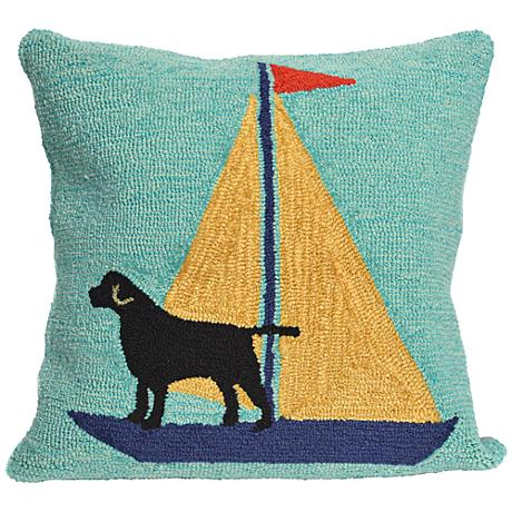 "Frontporch Sailing Dog Yellow 18"" Square Outdoor Pillow"