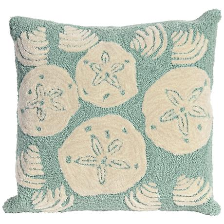 "Frontporch Shell Toss Aqua 18"" Square Outdoor Throw Pillow"