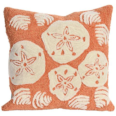 "Frontporch Shell Toss Coral 18"" Square Indoor-Outdoor Pillow"