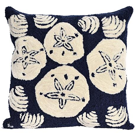 """Frontporch Shell Toss Navy 18"""" Square Outdoor Throw Pillow"""