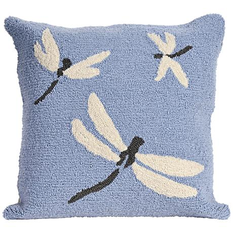 """Frontporch Dragonfly Blue 18"""" Square Outdoor Throw Pillow"""