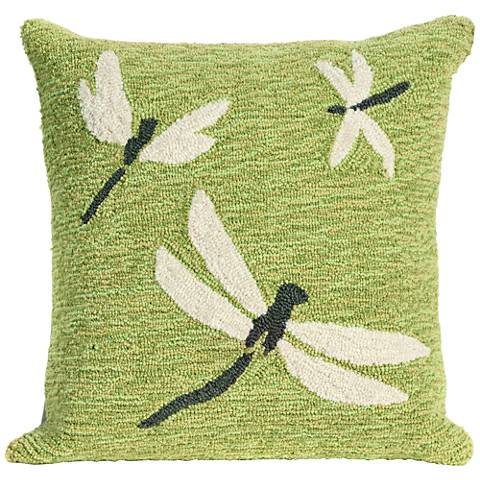"Frontporch Dragonfly Green 18"" Square Indoor-Outdoor Pillow"
