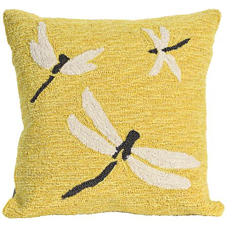 """Frontporch Dragonfly Yellow 18"""" Square Outdoor Throw Pillow"""