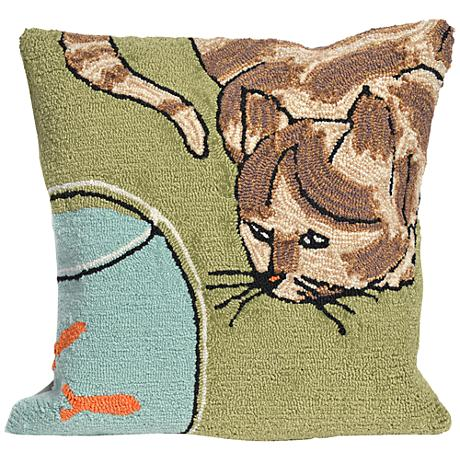 """Frontporch Curious Cat Green 18"""" Square Outdoor Throw Pillow"""