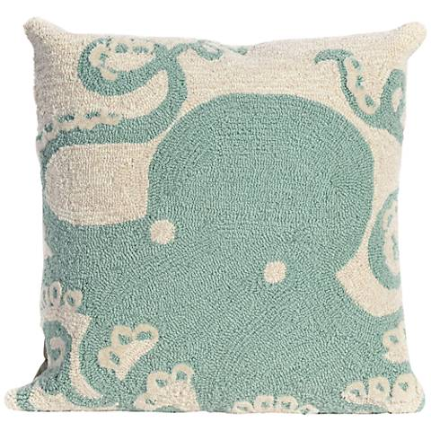 "Frontporch Octopus Aqua 18"" Square Outdoor Throw Pillow"