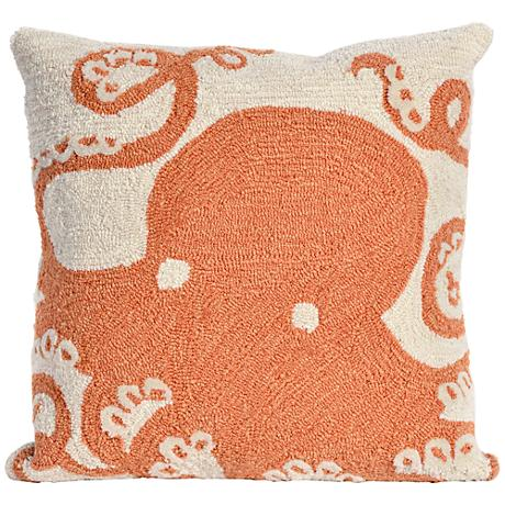 """Frontporch Octopus Coral 18"""" Square Outdoor Throw Pillow"""