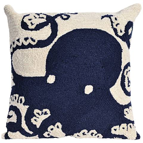 """Frontporch Octopus Navy 18"""" Square Outdoor Throw Pillow"""