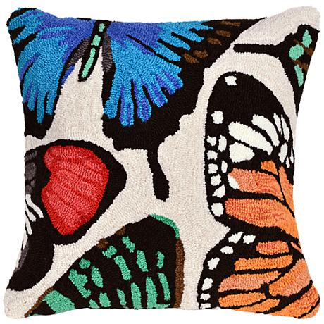 """Frontporch Butterfly Dance Cream 18"""" Square Outdoor Pillow"""