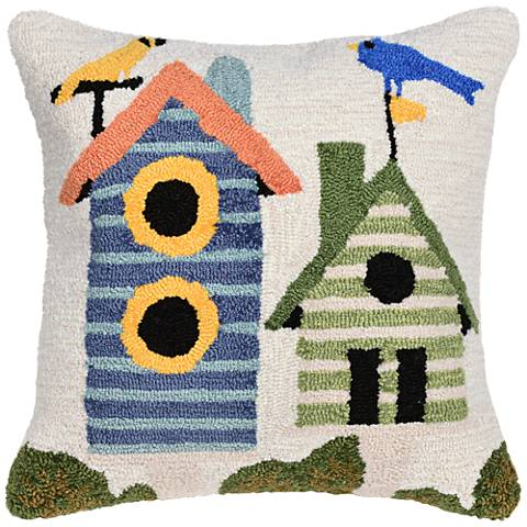 "Frontporch Birdhouses Cream 18"" Square Outdoor Throw Pillow"