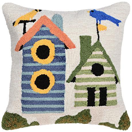 "Frontporch Birdhouses Cream 18"" Square Outdoor Throw Pillow"