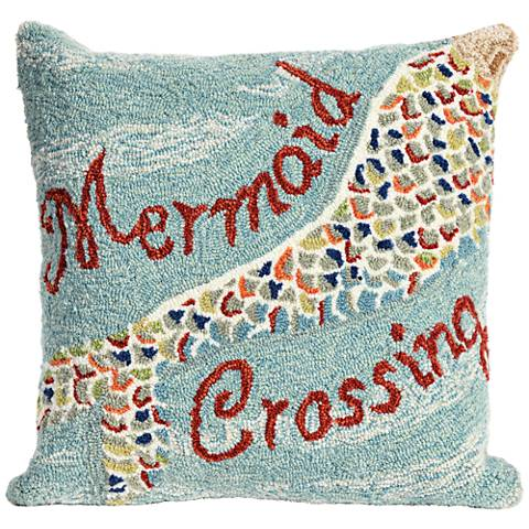 "Frontporch Mermaid Crossing Water 18"" Square Outdoor Pillow"