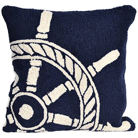 "Frontporch Ship Wheel Navy 18"" Square Indoor-Outdoor Pillow"