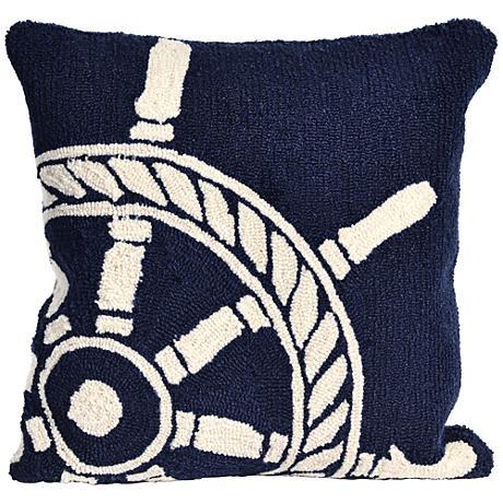 """Frontporch Ship Wheel Navy 18"""" Square Outdoor Throw Pillow"""