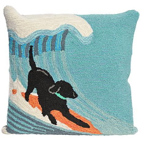 """Frontporch Surfing Dog Ocean 18"""" Square Outdoor Throw Pillow"""