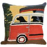 "Frontporch Camping Trip Red 18"" Square Outdoor Throw Pillow"